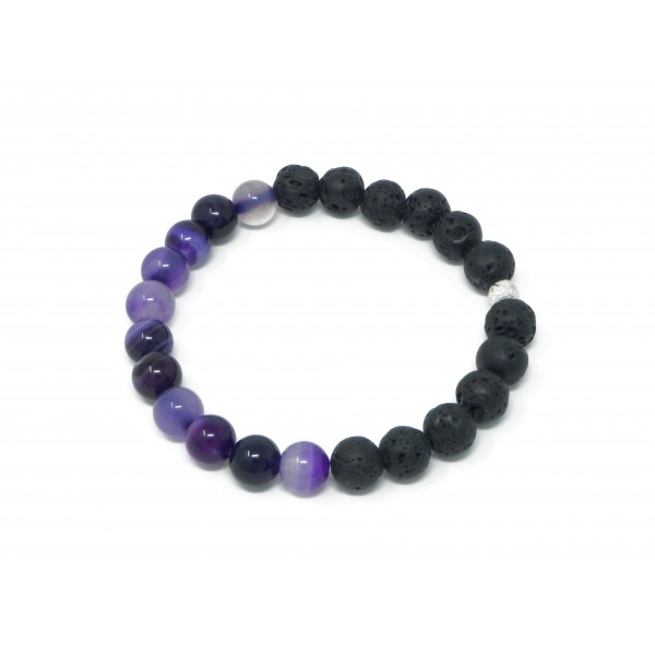 The Purple Power Bracelet- Agate Lava Bead Stretch...