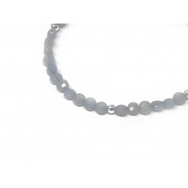 The Calming Bracelet- Aquamarine March Birthstone with Sterling Silver Clasp