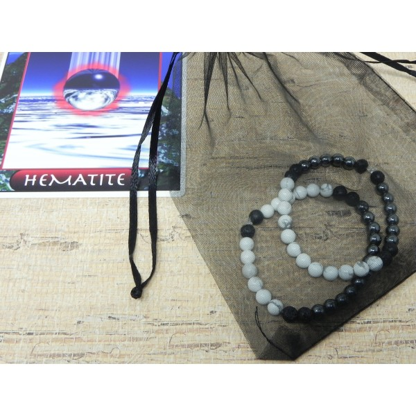 The Yin Yang Bracelets- Hematite and Howlite Lava Bead Stretch Cord