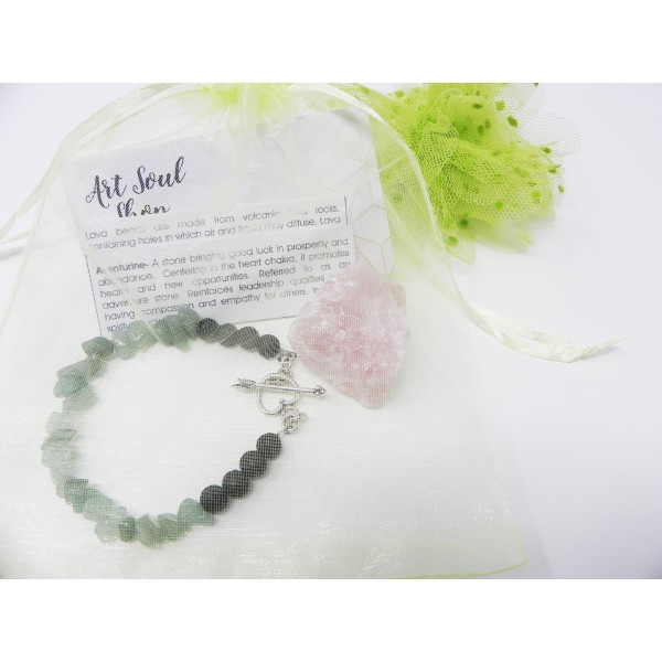 The Healthy Heart Bracelet- Aventurine Lava Beads ...