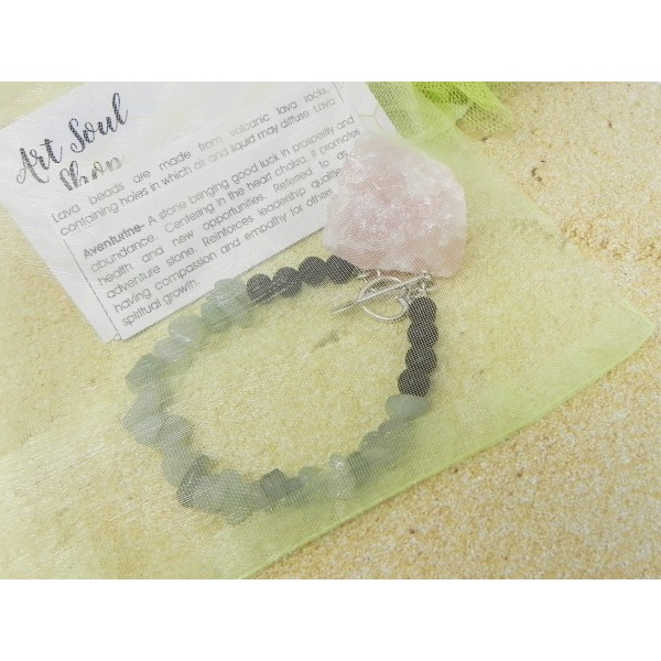 The Healthy Heart Bracelet- Aventurine Lava Beads with Sterling Silver Heart Clasp