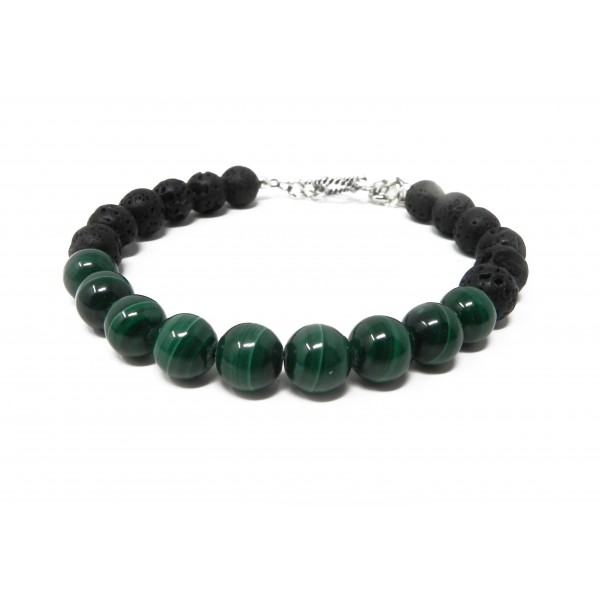 The Love Abundance Bracelet- Malachite Lava Bead w...