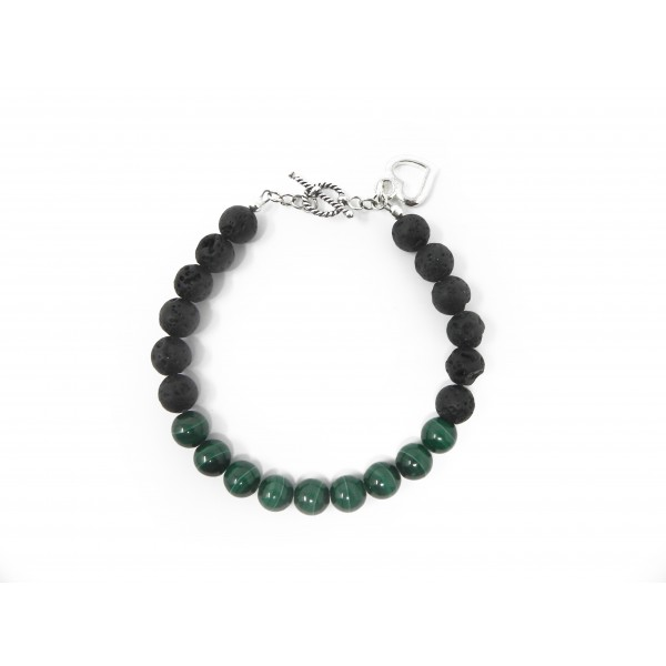 The Love Abundance Bracelet- Malachite Lava Bead with Sterling Silver Clasp and Heart Charm
