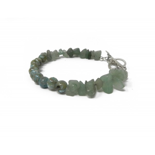 The Healthy Heart Bracelet- Aventurine and River Stone with Sterling Silver Heart Clasp