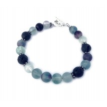 The Heart and Mind Bracelet- Fluorite Lava Bead wi...