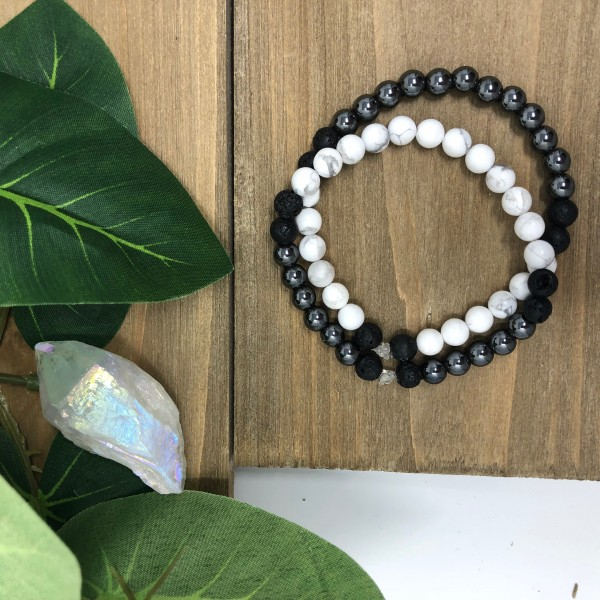 The Yin Yang Bracelets- Hematite and Howlite Lava ...