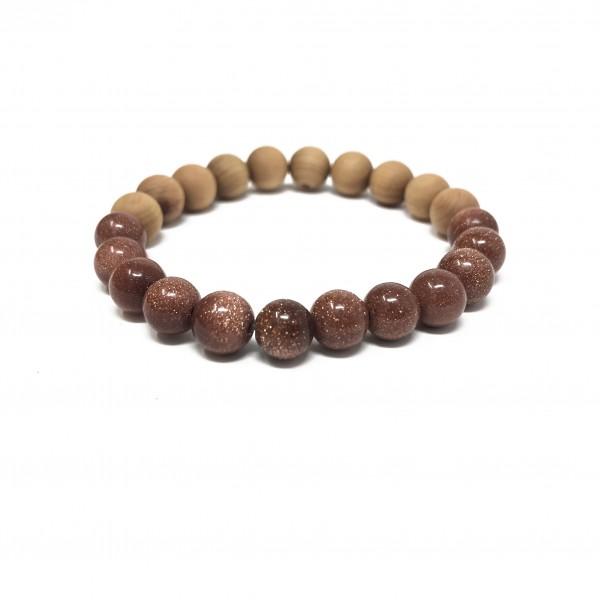 Goldstone Mix Bracelet- Picture Jasper, Tigers Eye, Custom Stretch Cord Bracelet