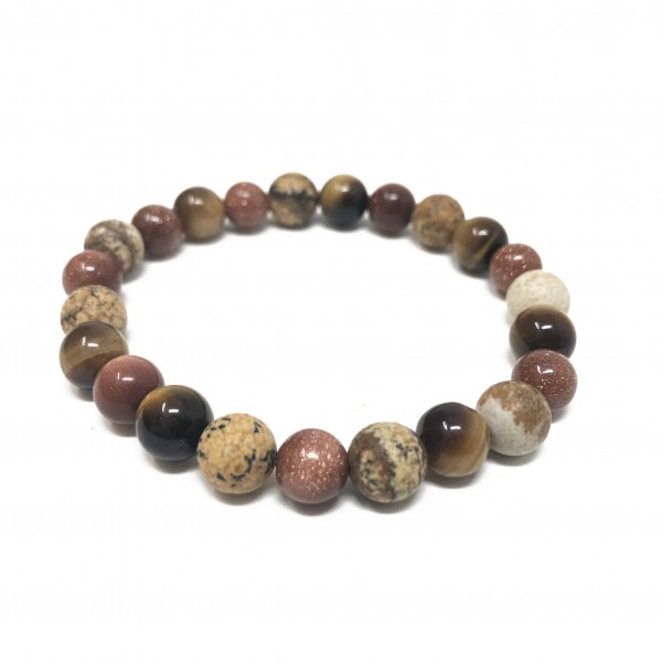Goldstone Mix Bracelet- Picture Jasper, Tigers Eye...