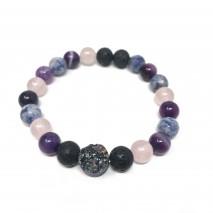 Rainbow Druzy Mix Bracelet- Rose Quartz, Sodalite,...