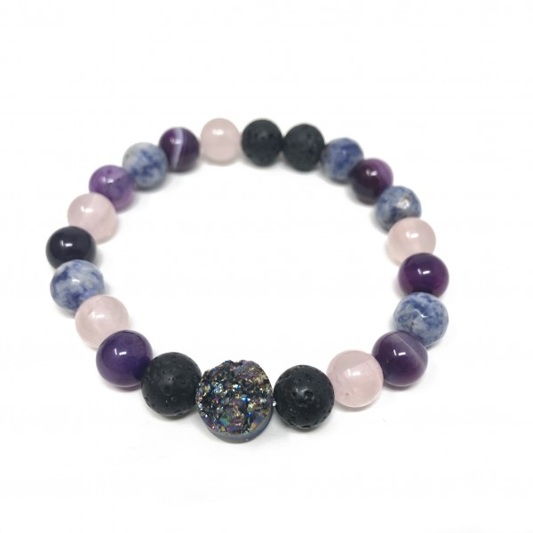 Rainbow Druzy Mix Bracelet- Rose Quartz, Sodalite,...
