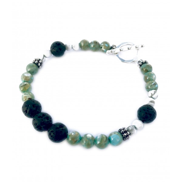 Howlite River Stone Lava Bead Bracelet with Sterling Silver Clasp