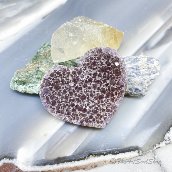 Amethyst Heart for Universal Love, Protection, and Spiritual Growth