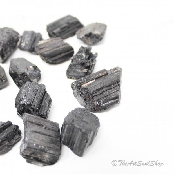Black Tourmaline Protection Grounding Raw Tumbled Stone