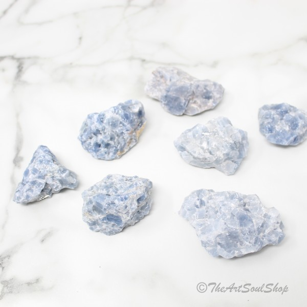 Calmness and Positivity Smooth Blue Calcite Crystal Throat Chakra Anxiety Release