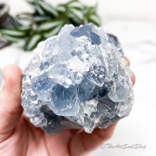 Positivity and Calmness Celestite Crystal Geode Throat Chakra
