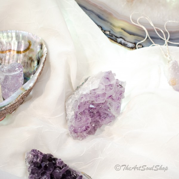 Light Amethyst Cluster for Home Decor or Meditation for Spiritual Growth, Protection, Universal Connection