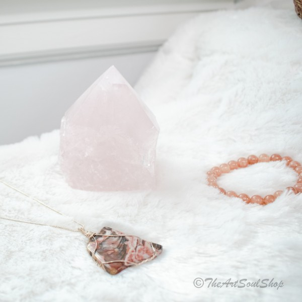 Love and Healing Rose Quartz Crystal Point