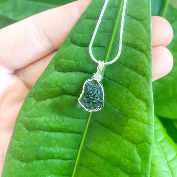 Moldavite Transformation Stone Starborn Meteorite Healing Manifesting Czech Republic Necklace