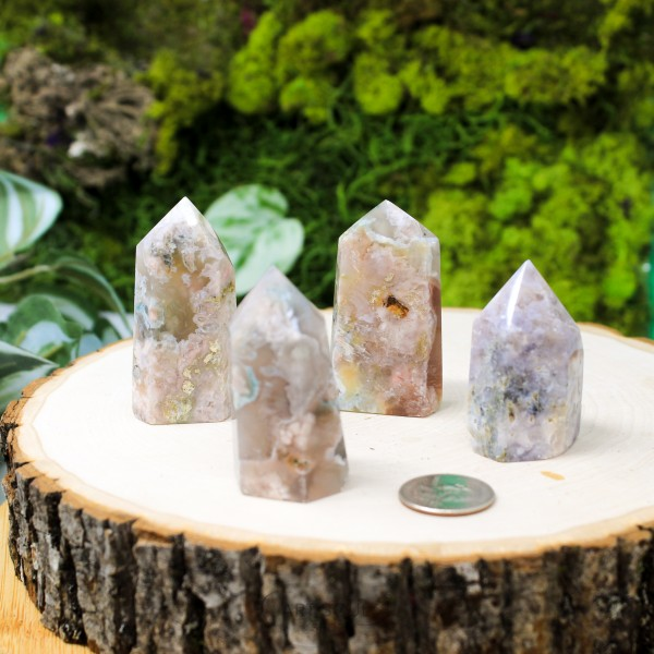 Flower Agate Natural Tower Crystal Point | Cherry Blossom Agate | Colorful Pink Blue Green Orange | Display Pretty Crystal | Love Peace Harmony | Wedding Crystal