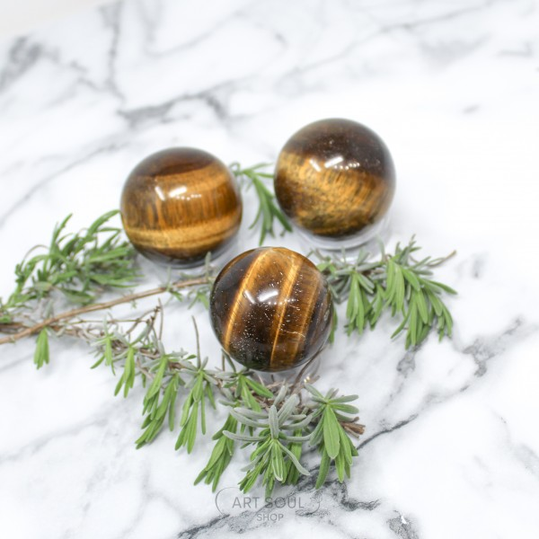 Tigers Eye Sphere for Confidence Boost, Intuition, Happiness, Strength