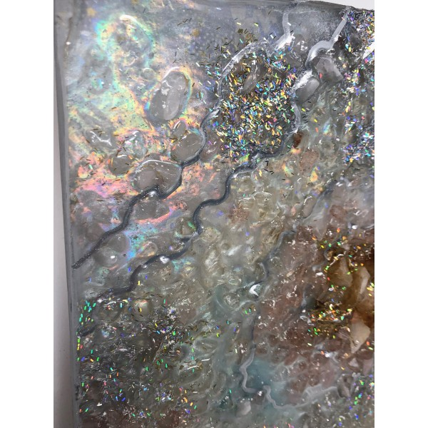 Holographic Citrine Mix Resin Painting