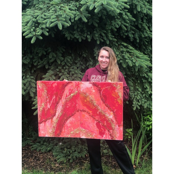 Red Sacral Energy Crystal Geode Painting