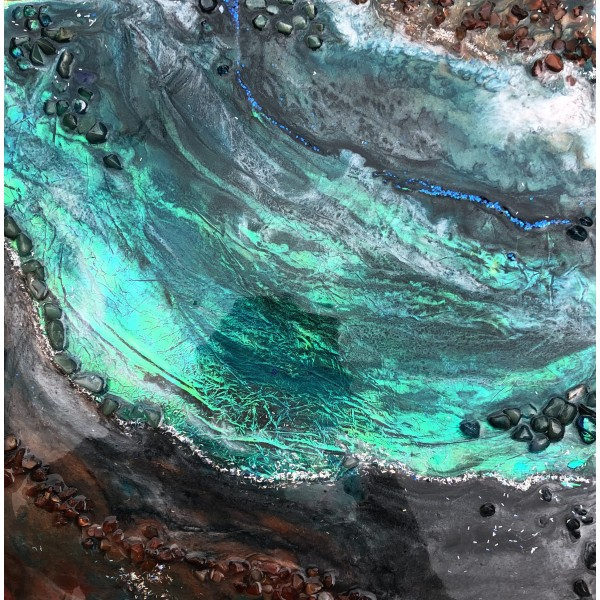Holographic Rustic Teal Crystal Geode Painting for Abundant Energy